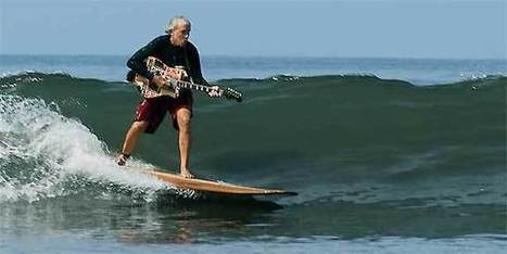 Playing guitar while surfing