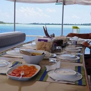 Breakfast on Horizon2 motoryacht holiday cruise horizon2 maldives surfing boardhellip